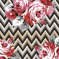 Servietten 33x33 cm - Roses on a Gold and Silver Zig Zag