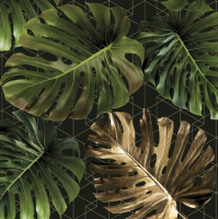 Servietten 33x33 cm - Monstera on a Golden Graphic Net