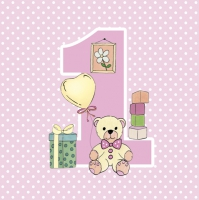 Servietten 33x33 cm - First Birthday with Teddy Pink