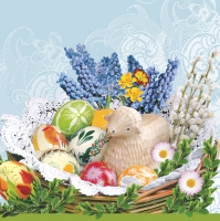 Lunch Servietten Easter Baskets blue