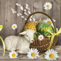 Servietten 33x33 cm - Lamb next Easter Basket