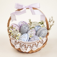 Servietten 33x33 cm - Traditional Easter Basket with Lace