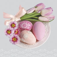 Servietten 33x33 cm - Easter Eggs with Pink Tulips and Primroses