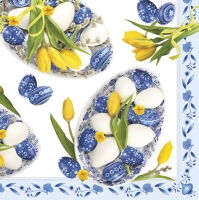 Servietten 33x33 cm - Blue Folk Eggs with Yellow Tulips