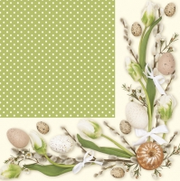Servietten 33x33 cm - Green Frame with Easter Motifs