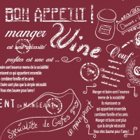 50 Linclass Dinner Servietten - SCRIPT Bordeaux