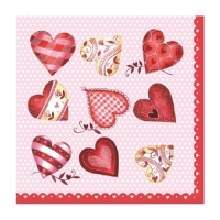 Servietten 25x25 cm - Love red