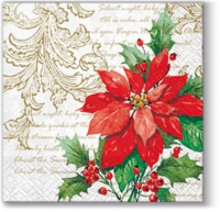 Servietten 25x25 cm - Stylish Poinsettia (white)