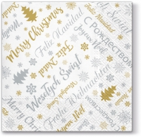 Servietten 33x33 cm - Xmas Wishes (silver)