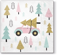 Servietten 33x33 cm - Christmas Car pink