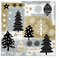 Servietten 33x33 cm - Christmas Design  gold