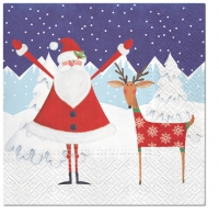 Servietten 33x33 cm - Santa with Deer