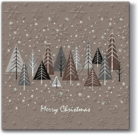 Lunch Servietten Inspiration Winter Flakes Snowy Forest (beige)