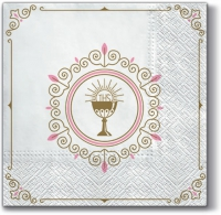 Napkins 33x33 cm - First Communion (light pink)