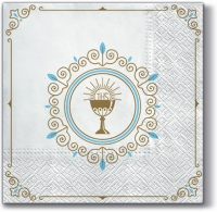 Servietten 33x33 cm - First Communion (light blue)