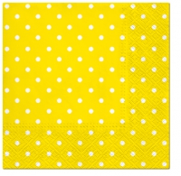 Servietten 33x33 cm - Dots (intense yellow)