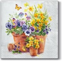 Lunch Servietten Pansies in a Pot