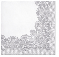 Servietten 33x33 cm - Royal Lace (silver)