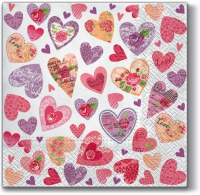 Servietten 33x33 cm - Romantic Hearts