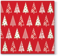 Servietten 33x33 cm - Triangle Trees (red)