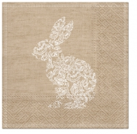 Servietten 33x33 cm - Lace Bunny brown