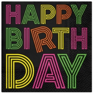 Servietten 33x33 cm - Birthday Neons (colorfull)