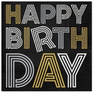 Servietten 33x33 cm - Birthday Neons (gold-silver)