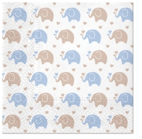 Servietten 33x33 cm - Baby Elephants (blue)