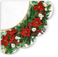 Servietten - Rund - Poinsettia Wreath (white)