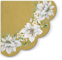 Servietten - Rund - White Poinsettia Gold R