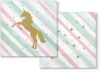 Servietten 33x33 cm - Unicorn and Stripes