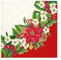 Servietten 33x33 cm - Wreath With Poinsettia Red