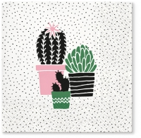 Napkins 33x33 cm - Cactus on Dots rose
