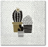 Napkins 33x33 cm - Cactus on Dots gold