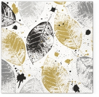 Napkins 33x33 cm - Leaves Print gold