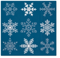 Servietten 33x33 cm - Big Snowflakes dark blue
