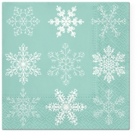 Servietten 33x33 cm - Big Snowflakes mint