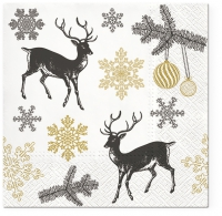 Servietten 33x33 cm - Winter Stags gold