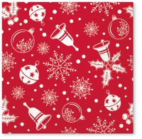 Servietten 33x33 cm - Xmas time red