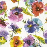 Servietten 25x25 cm - Watercolour pansies