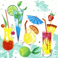 Servietten 25x25 cm - Colourful drinks