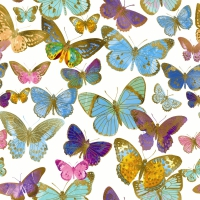Servietten 25x25 cm - Golden butterflies