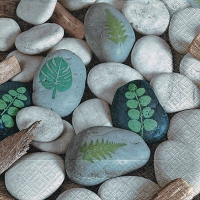Servietten 33x33 cm - Leaves on stones