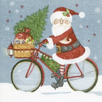 Servietten 25x25 cm - Santa on a bike