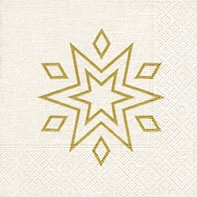 Servietten 24x24 cm - Starry white/gold