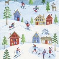 Servietten 25x25 cm - Wintersport