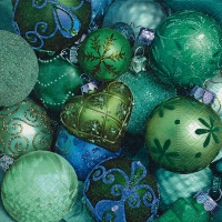 Servietten 33x33 cm - Shiny green baubles