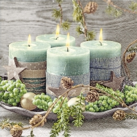 Servietten 33x33 cm - Four green candles
