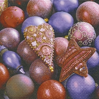 Servietten 33x33 cm - Shiny purple baubles