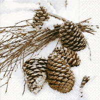 Servietten 33x33 cm - Cones in snow